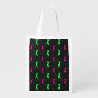 Neon Green, Hot Pink, Vintage Golfer Black Chevron Grocery Bag