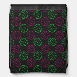 Neon Green, Hot Pink, Volleyball, Black Chevron Drawstring Backpack