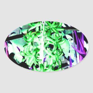 Neon Green Hyacinth Oval Sticker