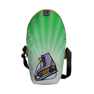 Neon Green Ice Skate. Courier Bag