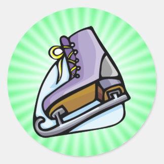 Neon Green Ice Skate. Round Sticker