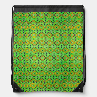 Neon Green Kaitag pattern Drawstring Backpack