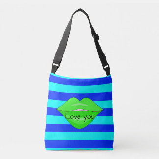 Neon Green kiss lips aqua stripes tote bag