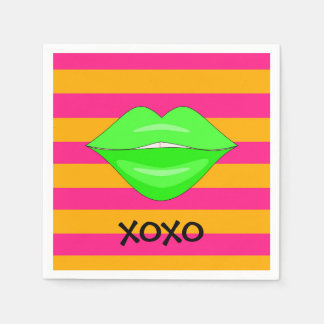 Neon green kiss lips pink stripes paper napkins