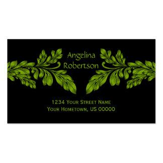 Neon Green Leaf Swirls Business Card