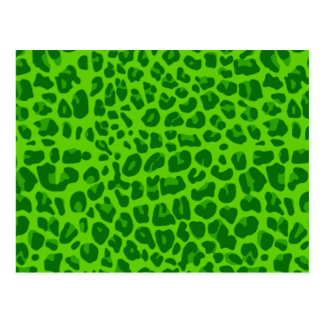 Neon green leopard print pattern postcard