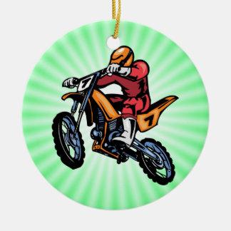 Neon Green Motocross Christmas Ornament