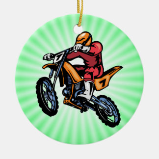 Neon Green Motocross Round Ceramic Decoration