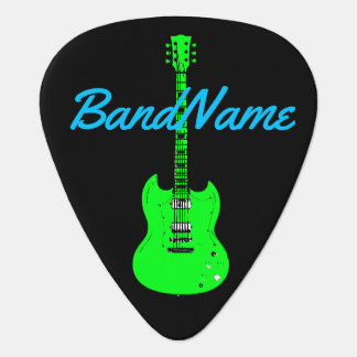 neon green on black, electric plectrum
