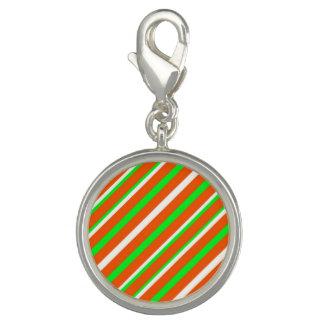 Neon Green Orange Stripe Round Charm