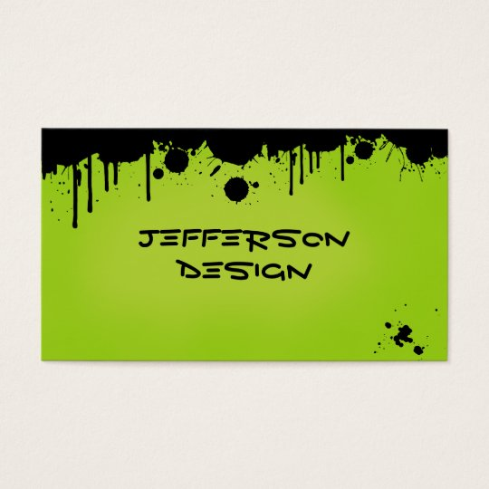 Neon Green Paint Splatters Business Card