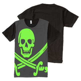 Neon Green Pirate All-Over Print T-Shirt