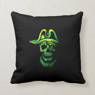 Neon Green Pirate Skull Throw Pillow