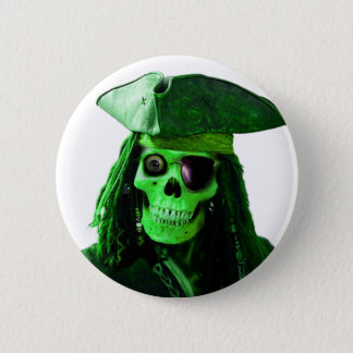Neon Green Pirate with skully & patch 6 Cm Round Badge