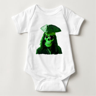 Neon Green Pirate with skully & patch Baby Bodysuit
