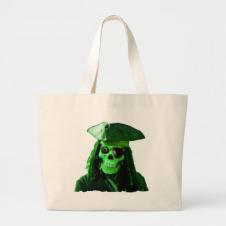 Neon Green Pirate with skully & patch Canvas Bags