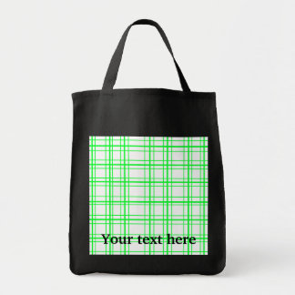 Neon green plaid on white background grocery tote bag