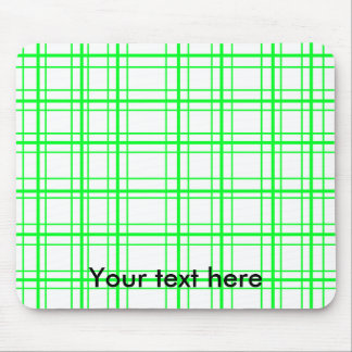 Neon green plaid on white background mouse pad