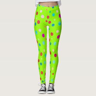 Neon Green Polka Dot Leggings