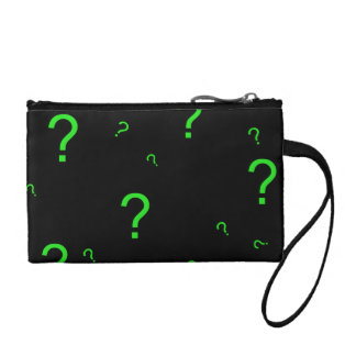 Neon Green Question Mark Change Purses