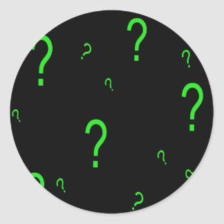 Neon Green Question Mark Classic Round Sticker