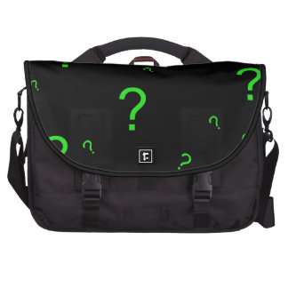 Neon Green Question Mark Laptop Messenger Bag