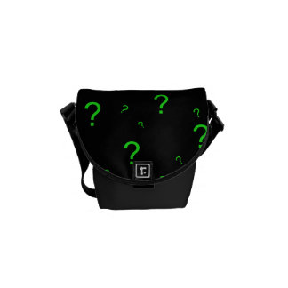 Neon Green Question Mark Messenger Bags