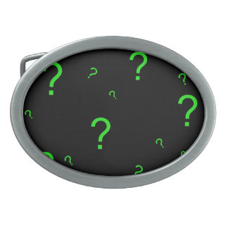 Neon Green Question Mark Oval Belt Buckle