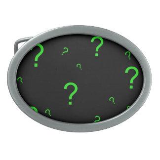 Neon Green Question Mark Oval Belt Buckle