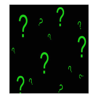 Neon Green Question Mark Poster