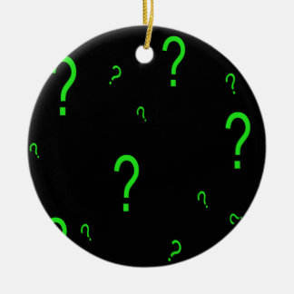 Neon Green Question Mark Round Ceramic Decoration