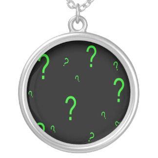 Neon Green Question Mark Round Pendant Necklace