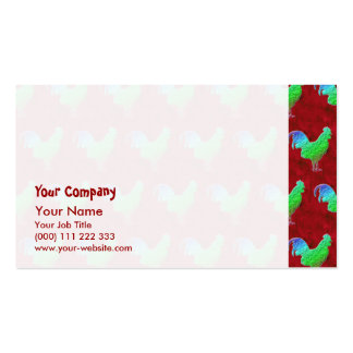 Neon green roosters business cards