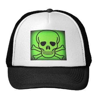 NEON GREEN SKULL AND CROSSBONES PRINT TRUCKER HATS