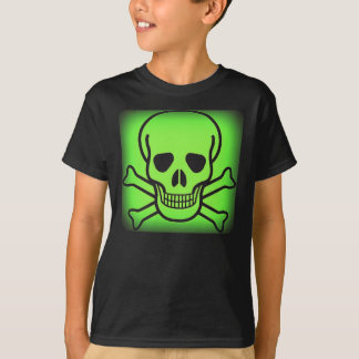 NEON GREEN SKULL AND CROSSBONES PRINT T SHIRTS