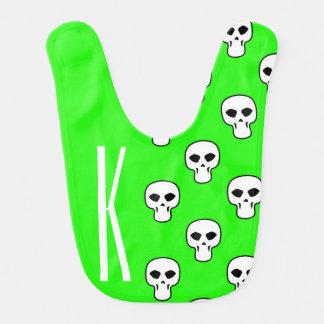 Neon Green Skulls Pattern Baby Bibs