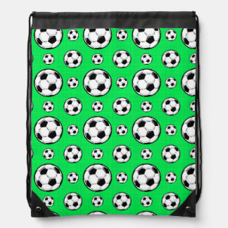 Neon Green Soccer Ball Pattern Backpacks