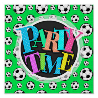Neon Green Soccer Ball Pattern Poster
