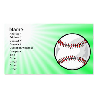 Neon Green Softball; Baseball Double-Sided Standard Business Cards (Pack Of 100)