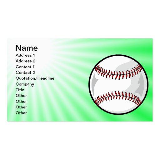 Neon Green Softball; Baseball Business Card Templates