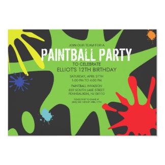 Neon Green Split Splat Custom Paintball Party 13 Cm X 18 Cm Invitation Card