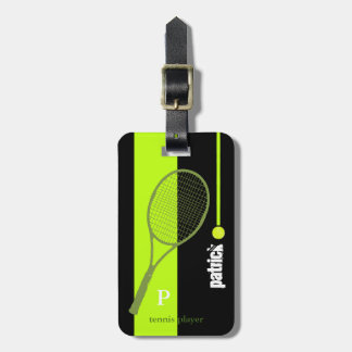 neon green sport tennis personalized luggage tag