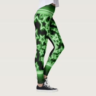 Neon Green Stars Leggings