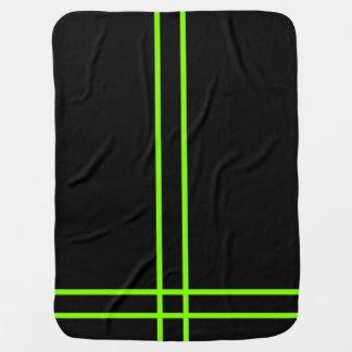 Neon Green Striped Stroller Blanket