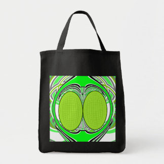 Neon green superfly design grocery tote bag