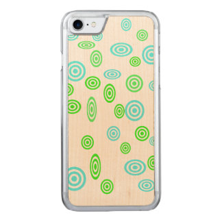 Neon green teal polka dots pattern carved iPhone 7 case