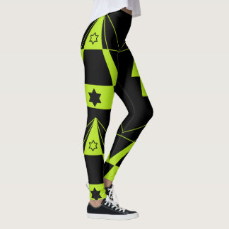 Neon Green Triangles Shapes & Black Stars Yoga Leggings