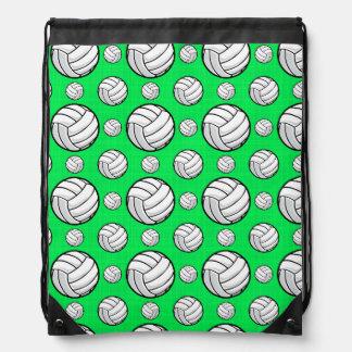 Neon Green Volleyball Pattern Drawstring Bag