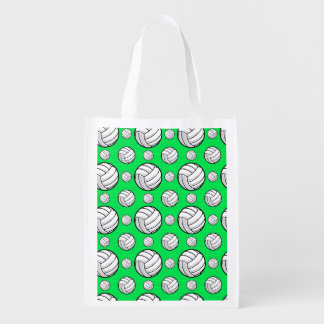 Neon Green Volleyball Pattern Market Totes