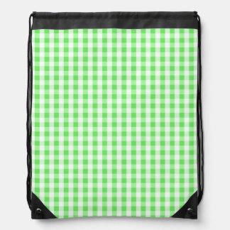 Neon Green & White Gingham Pattern Drawstring Backpacks